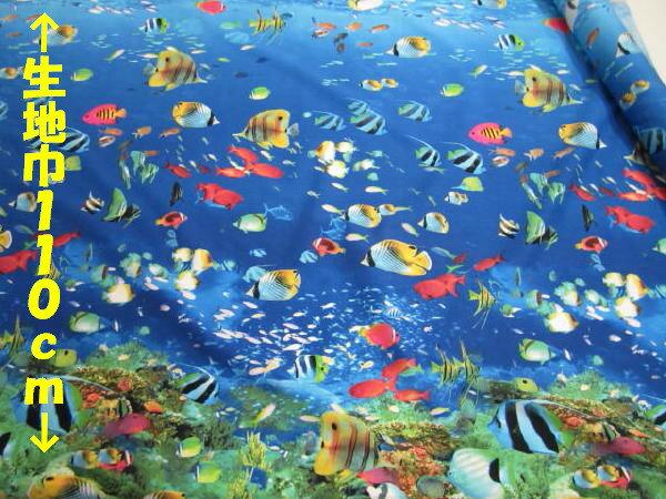 リアルプリント マリンワールド【DM便3m可】海|魚|生地・布|コットン|綿|エプロン|インテリア|カバー|シーツ|カーテン|目隠し|実写|そっくり|クラフト|ナチュラル|自然|ソーイング|ハンドメイド|手芸|通販|安い