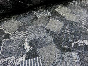デニムポケットパッチランダム ブラック キルト  キルティング 布地 手芸 プリント生地 レッスンバッグ シューズ入れ 体操着入れ 巾着袋 布団袋