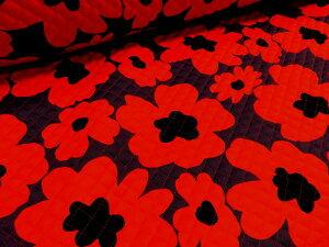 マリメッコ風大きな花柄 パープル地にレッド キルト キルティング 布地 手芸 プリント生地 レッスンバッグ シューズ入れ 体操着入れ 巾着袋 布団袋