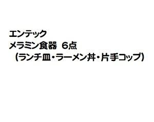 【在庫限り★特別価格】エンテック メラミン食器 6点 (ランチ皿・ラーメン丼・片手コップ) ※日本製
