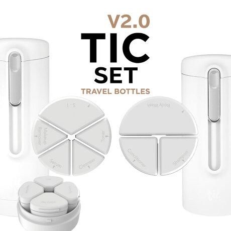 トラベルボトルTICSKIN&SHOWERBOTTLEV2.0(シャワー+スキン2個セット)[日本総代理店]シャンプーや化粧水・クリームをひとまとめ!