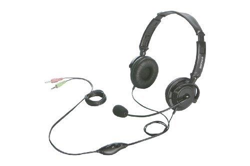 バッファロー iBUFFALO 両耳ヘッドバンド式ヘッドセット 半密閉/ノイズキャンセリングマイク搭載 ブラック ☆BSHSH12BK★【送料無料】|1803BFTT^