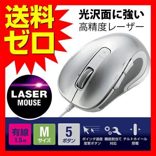 マウス レーザーマウス 有線 USB 5ボタン 1.5m シルバー Mサイズ 高精度 光沢面に強い 送料無料