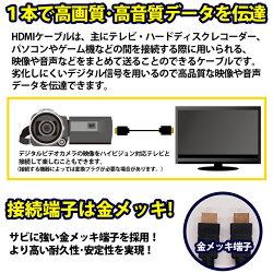 ハイスピードHDMIケーブルver1.4金メッキ端子2m
