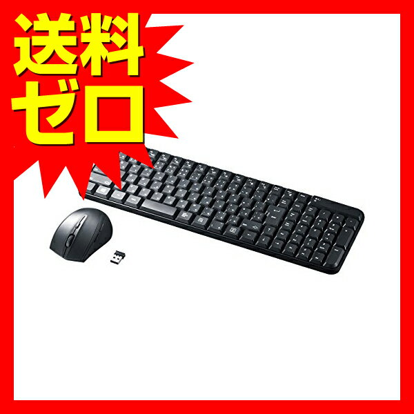 サンワサプライ マウス付きワイヤレスキーボード SKB-WL25SETBK マウス付きワイヤレスキーボード ( 静音ブルーLEDマウス・ブラック ) 【 あす楽 】 【 送料無料 】