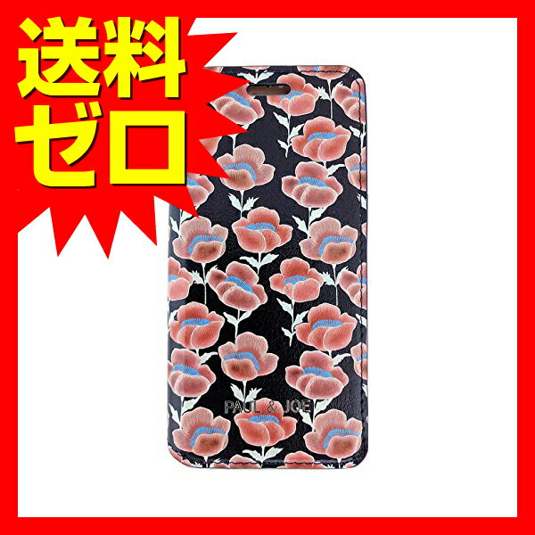 iPhone 7 Plus ケース PAUL&JOE PU エアージェイ アイフォン7 プラス Booktype Case - Red Flowers