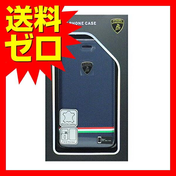 iPhone 7 ケース ランボルギーニ LAMBORGHINI 本革 公式ライセンス品 エアージェイ アイフォン7 Genuine Leather Ultra Slim Flip Case - Blue 【 あす楽 】 【 送料無料 】
