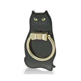 エレコム スマホリング ホールドリング 360度回転 スタンド機能 落下防止 [リングがネコの首輪をモチーフにしたかわいいデザイン] ブラック P-STRJCTBK スマートフォン用ストラップ / フィンガーリング / 女子向け / ネコ / 黒ネコ 【 あす楽 】 ELECOM