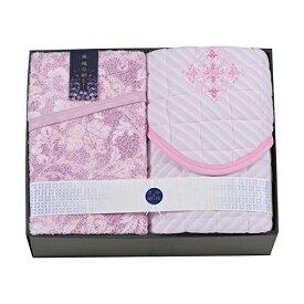 京都西川 タオルケット&敷パットセット ピンク 1-TP-8019