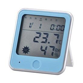 OHM インフルエンザ熱中症注意機能付き 温湿度計 青 TEM-300A TEM-300-A