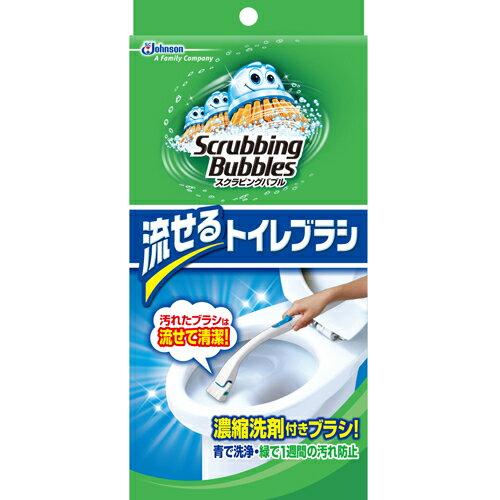 スクラビングバブル シャット 流せるトイレブラシ 本体1個+ブラシ4個※商品は1点(個)の価格になります。