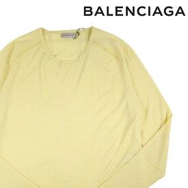 【L】 BALENCIAGA バレンシアガ 丸首セーター メンズ カシミヤxシルク混 イエロー 黄 並行輸入品 メンズファッション 男性用 ビジネス ニット 日本未入荷 ラッピング無料 送料無料
