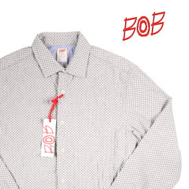 【M】 BOB ボブ 長袖シャツ TRAP UNICA メンズ ドット グレー 灰色 並行輸入品 メンズファッション 男性用 ビジネス カジュアルシャツ 日本未入荷 ラッピング無料 送料無料
