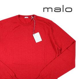 【52】 malo マーロ 丸首セーター メンズ カシミヤxシルク混 レッド 赤 並行輸入品 メンズファッション 男性用 ビジネス ニット 大きいサイズ 日本未入荷 ラッピング無料 送料無料