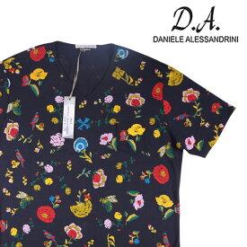 【XL】 DANIELE ALESSANDRINI ダニエレアレッサンドリーニ Vネック半袖Tシャツ メンズ 花柄 ネイビー 紺 並行輸入品 メンズファッション 男性用 ビジネス トップス 日本未入荷 ラッピング無料 送料無料