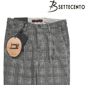 【34】 B SETTECENTO ビーセッテチェント コットンパンツ メンズ チェック グレー 灰色 並行輸入品 メンズファッション 男性用 ビジネス ズボン 大きいサイズ 日本未入荷 ラッピング無料 送料無料