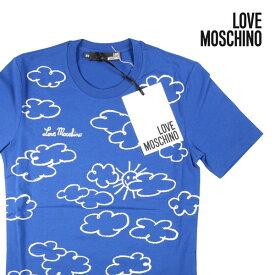 【S】 LOVE MOSCHINO ラブモスキーノ Uネック半袖Tシャツ メンズ 春夏 ブルー 青 並行輸入品 メンズファッション 男性用 ビジネス トップス 日本未入荷 ラッピング無料 送料無料