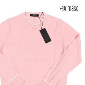 +39 masq(マスク) 丸首セーター P19-MASQ2100 ピンク x ホワイト XL 19141pk 【S19144】