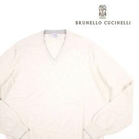 【52】 BRUNELLO CUCINELLI ブルネロクチネリ Vネックセーター M2200162USA メンズ 秋冬 カシミヤ100% ホワイト 白 並行輸入品 メンズファッション 男性用 ビジネス ニット 大きいサイズ 日本未入荷 ラッピング無料 送料無料