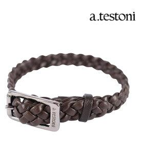 a.testoni ア・テストーニ ブレスレット メンズ ブラウン 茶 レザー 並行輸入品 メンズファッション 男性用 ビジネス 日本未入荷 ラッピング無料 送料無料