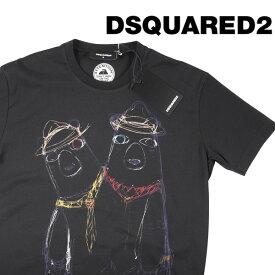 DSQUARED2(ディースクエアード) Uネック半袖Tシャツ S74GD0335 ブラック M 20351 【S20351】