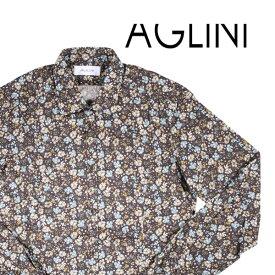 AGLINI(アリーニ) 長袖シャツ KUNZIO ブラウン 42 20497 【A20498】