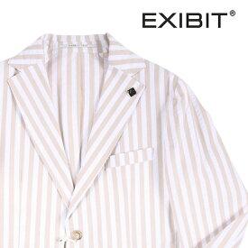【44】 EXIBIT エグジビット ジャケット メンズ 春夏 シアサッカー ストライプ ホワイト 白 並行輸入品 メンズファッション 男性用 ビジネス アウター トップス 日本未入荷 ラッピング無料 送料無料