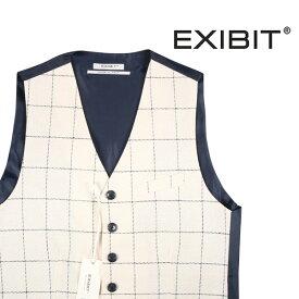 【M】 EXIBIT エグジビット ジレ メンズ 春夏 チェック ホワイト 白 並行輸入品 メンズファッション 男性用 ビジネス ベスト 日本未入荷 ラッピング無料 送料無料