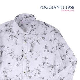 POGGIANTI 1958(ポジャンティ 1958) 長袖シャツ SOLAIA ホワイト x ブラック 40 20980 【A20982】