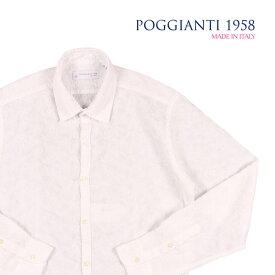 【40】 POGGIANTI 1958 ポジャンティ 1958 長袖シャツ メンズ 刺繍 花柄 ホワイト 白 並行輸入品 メンズファッション 男性用 ビジネス カジュアルシャツ 日本未入荷 ラッピング無料 送料無料