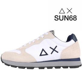 【42】 SUN68 サンシックスティーエイト スニーカー メンズ ホワイト 白 並行輸入品 メンズファッション 男性用 ビジネス 日本未入荷 ラッピング無料 送料無料