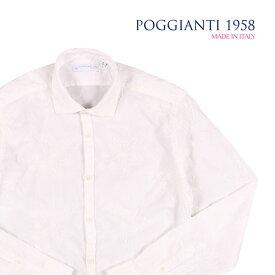 【44】 POGGIANTI 1958 ポジャンティ 1958 長袖シャツ メンズ 刺繍 ホワイト 白 並行輸入品 メンズファッション 男性用 ビジネス カジュアルシャツ 大きいサイズ 日本未入荷 ラッピング無料 送料無料