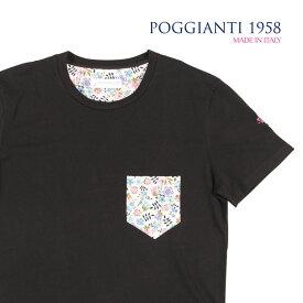 POGGIANTI 1958(ポジャンティ 1958) Uネック半袖Tシャツ 961E20-04 ブラック L 22998 【S23000】