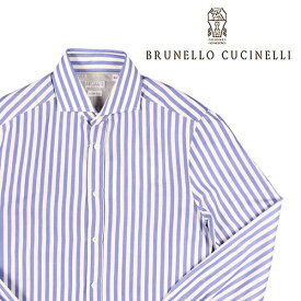 BRUNELLO CUCINELLI(ブルネロクチネリ) 長袖シャツ C016 ブルー x ホワイト XS 23613bl 【A23613】