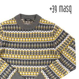 【3XL】 +39 masq マスク 丸首セーター メンズ 秋冬 イエロー 黄 並行輸入品 メンズファッション 男性用 ビジネス ニット 大きいサイズ 日本未入荷 ラッピング無料 送料無料