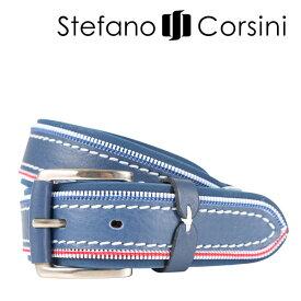 Stefano Corsini(ステファノ・コルシーニ) ベルト CZIPPER ブルー 120 23960 【A23964】
