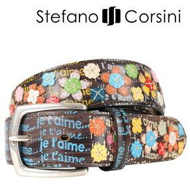 Stefano Corsini(ステファノ・コルシーニ) ベルト FTJET'AIME ダークブラウン x マルチカラー 105 23980 【A23981】