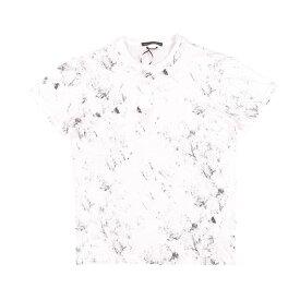 Daniele Alessandrini(ダニエレアレッサンドリーニ) Uネック半袖Tシャツ M7277 ホワイト x ブラック M 25051 【S25051】