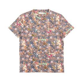 ETRO(エトロ) Uネック半袖Tシャツ 1Y020 ネイビー x マルチカラー L 25207nv 【S25211】
