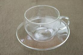 耐熱ガラス ティーカップ&ソーサー お茶くらぶ 1客 ハーブティーにも 薄い 軽い てづくり F37442 おしゃれ カフェ風 ガラス食器