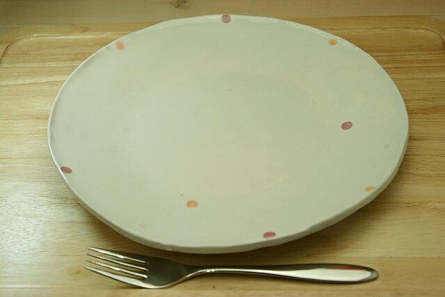 3色ドット水玉 アイボリープレートLナチュラルで ほっこりとした大皿 ワンプレートやランチプレートとして おうちカフェ
