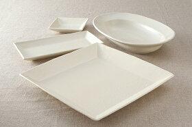 プレーンアイボリー粉引調スクエア角大皿陶器プレートLランチプレート和カフェ