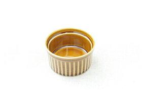 アンバーブラウンアメ色丸いココットサイズL(9cm)プリン・スフレ・コキールにもディップ・ジャム・トッピングなどでもgood♪白い食器と相性抜群安心・安全な日本製オーブンOK