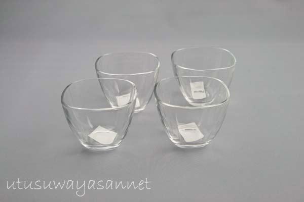 ガラスボウル プレーンスクエア 豆鉢4個セット ガラス食器