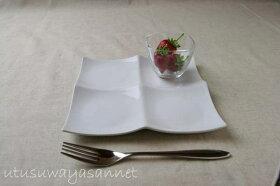 プレーンスクエアガラスボウル豆鉢4個setデザートやディップ入れにも最適