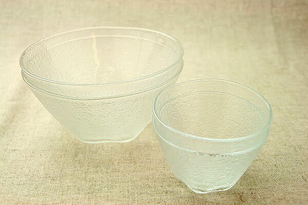 そうめん/冷麺ペア ガラス食器セット そうめん鉢2個+タレ小鉢2個 ほっこり 冷や麦 ひやむぎ 副菜入れとしても 流雅 まとめてお得 箱無