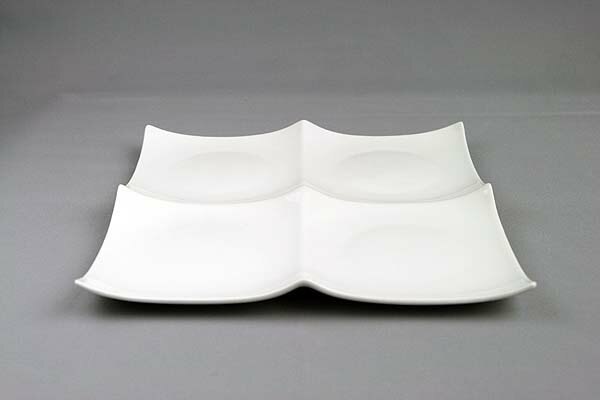 ピュアホワイト/クアトロ2×2/スクエアプレートL1枚/大きめ/4つ仕切り皿/白い食器/ランチプレート【 532P19Apr16 】