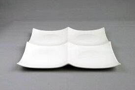 ピュアホワイト/クアトロ2×2/スクエアプレートL1枚/大きめ/4つ仕切り皿/白い食器/ランチプレート