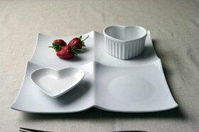 ピュアホワイト/クアトロ2×2/スクエアプレートL1枚/大きめ/白い食器/ランチプレート