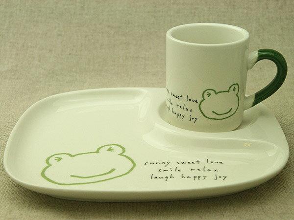 訳あり カエルイラスト/アイボリー陶器仕切ランチプレート&マグ2点子供食器セット 日本製 子ども/フロッグ/かえる ギフト対応不可